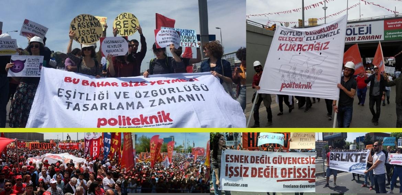 Mühendisler özgürlükleri ve gelecekleri için 1 Mayıs meydanlarındaydı