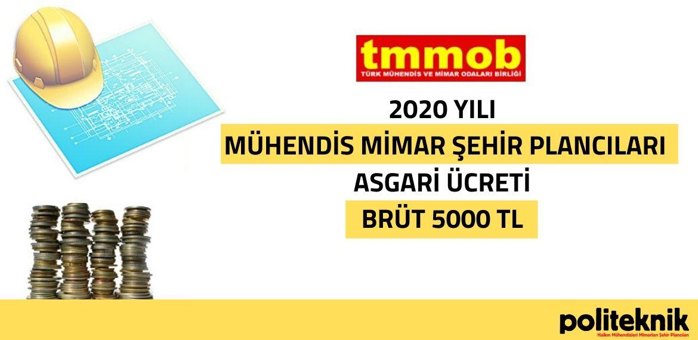 TMMOB 2020 yılı mühendis, mimar, plancı asgari ücretini belirledi
